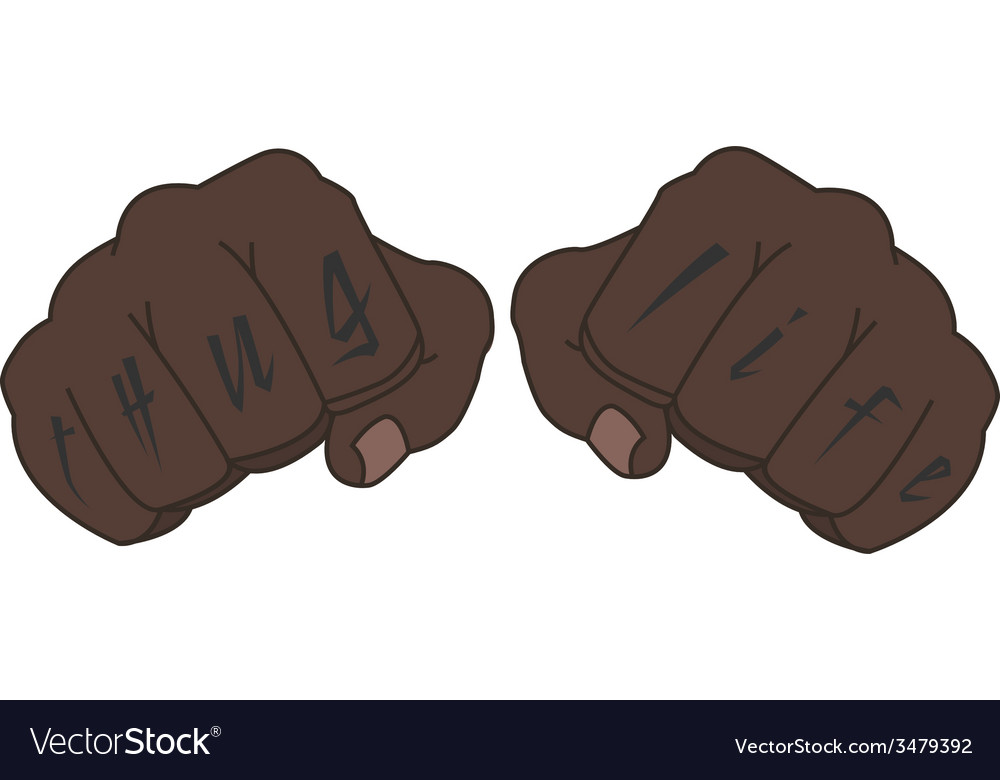 Black man fists with tattoo on fingers vector | Price: 1 Credit (USD $1)