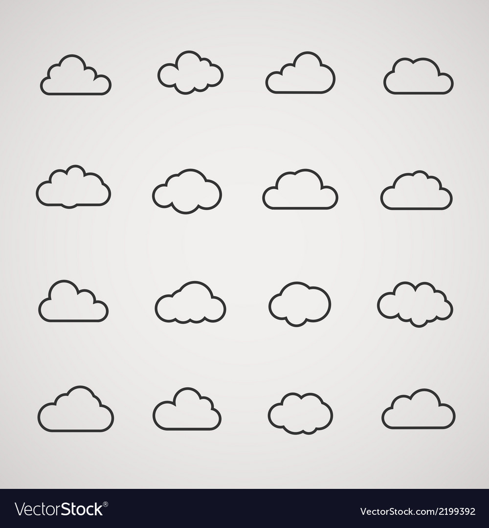 Cloud icons shapes set for computing web and app vector | Price: 1 Credit (USD $1)