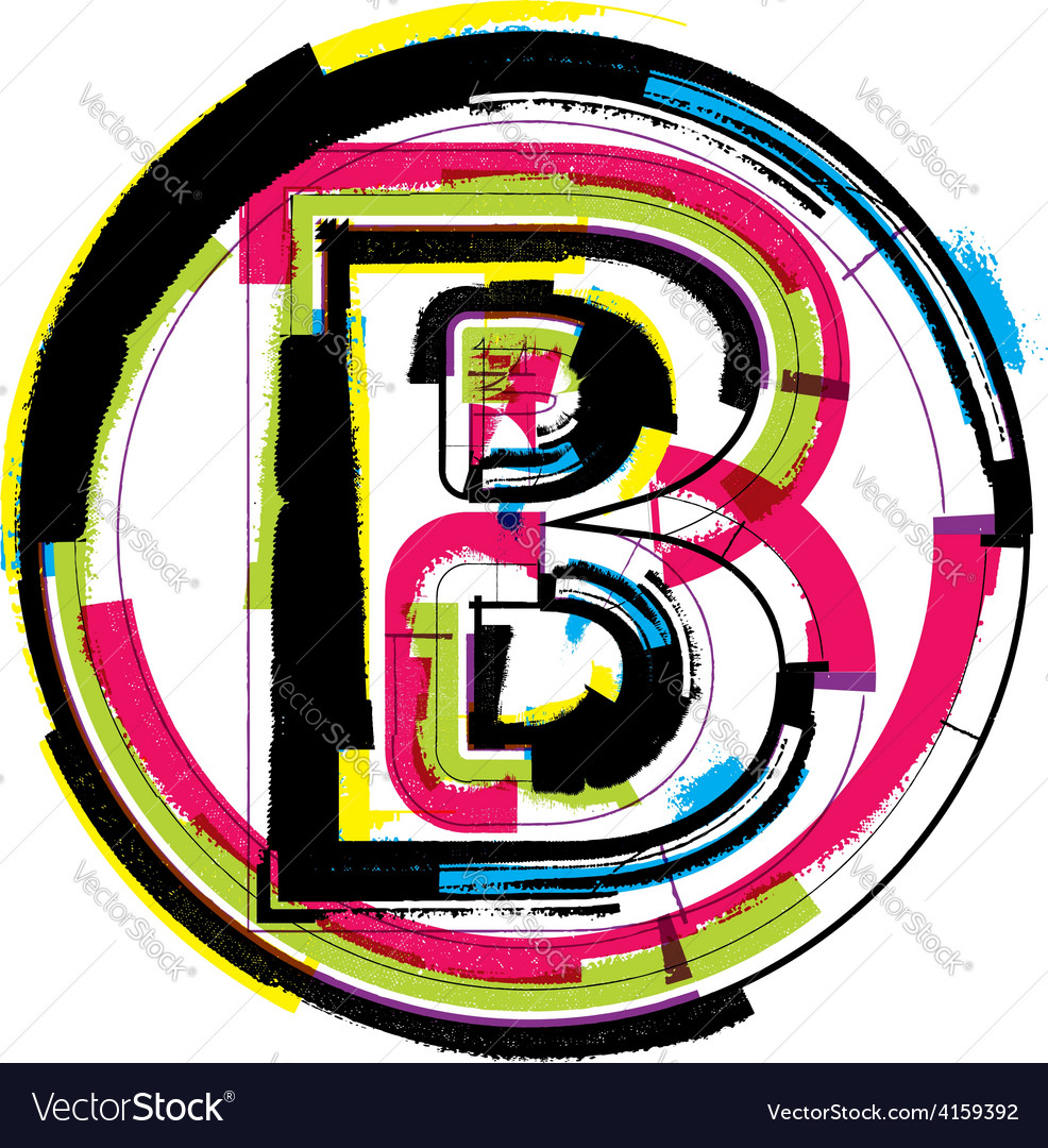 Colorful grunge font letter b vector | Price: 1 Credit (USD $1)