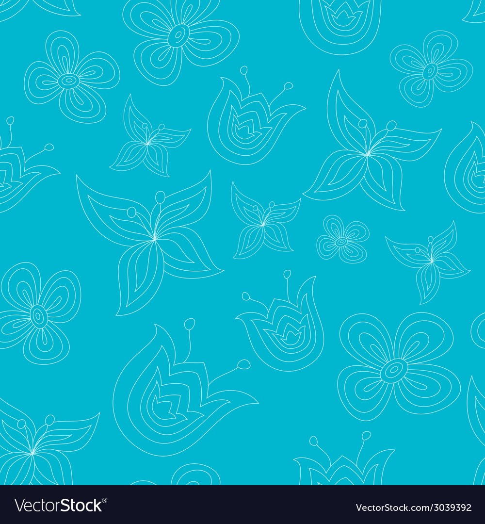 Cute seamless pattern with doodle flowers vector | Price: 1 Credit (USD $1)