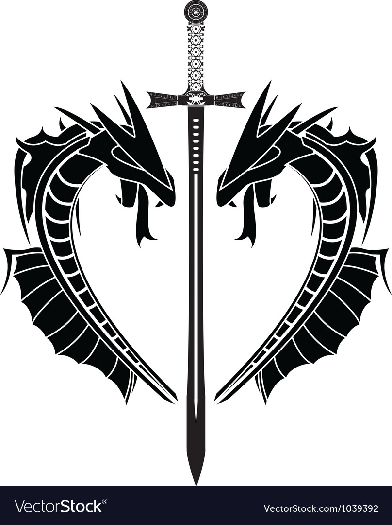 Dragons and sword vector | Price: 1 Credit (USD $1)