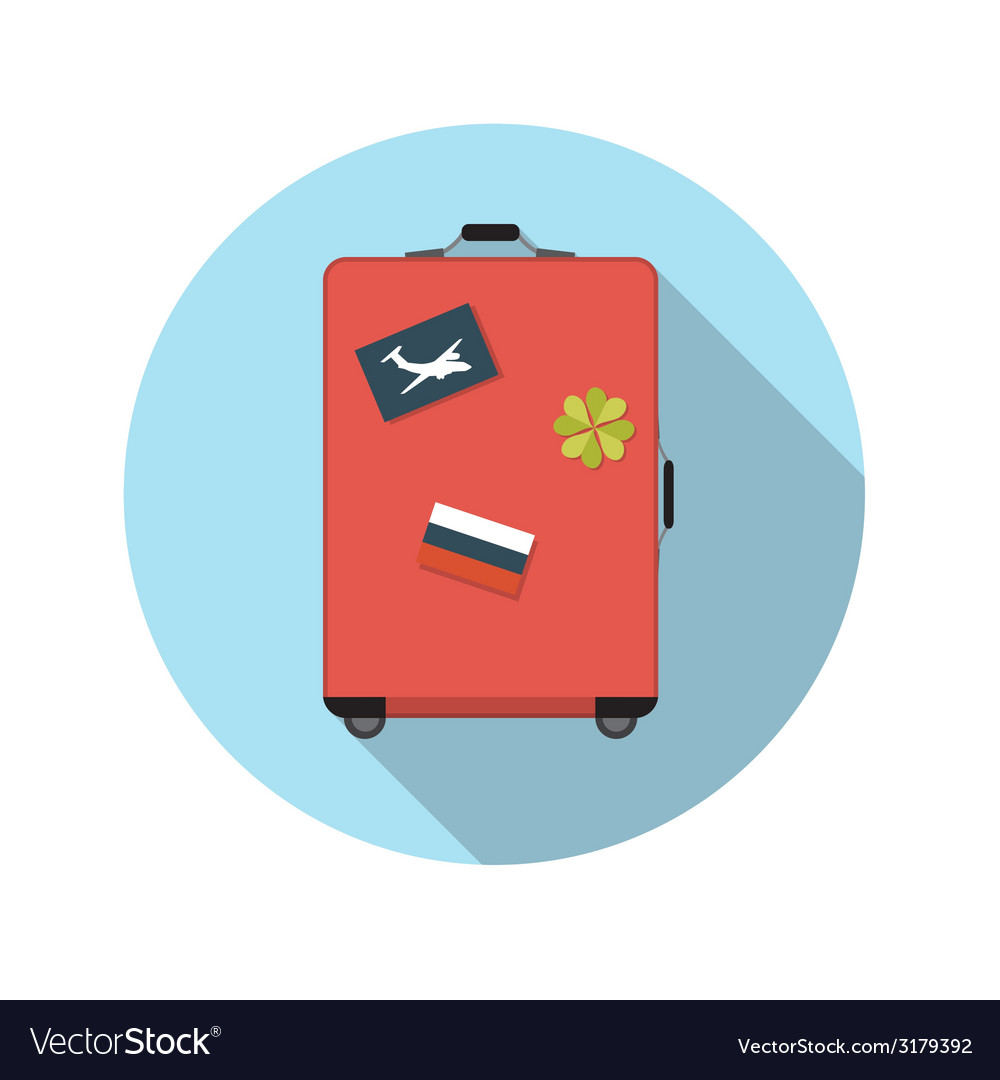 Flat design concept suitcase with long shado vector   Price: 1 Credit (USD $1)