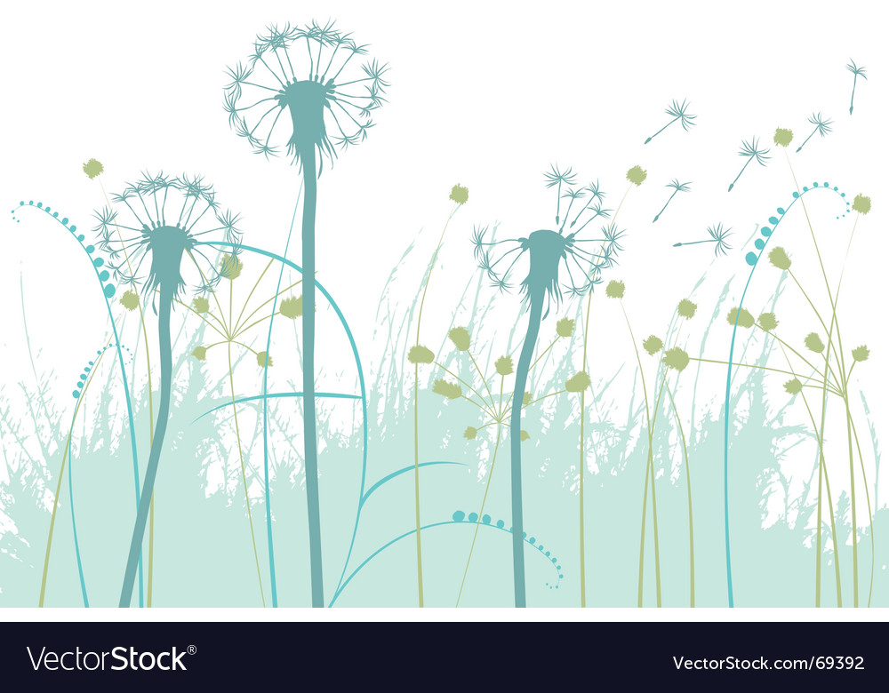 Floral background with dandelions vector | Price: 1 Credit (USD $1)