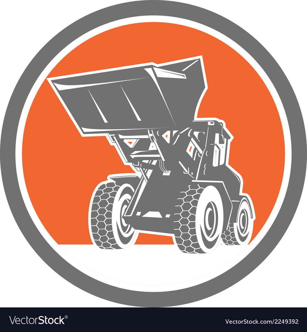 Front end loader digger excavator circle retro vector | Price: 1 Credit (USD $1)