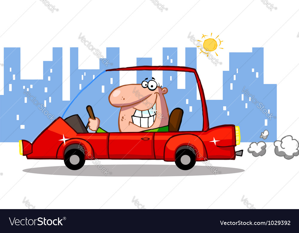 Grinning man driving a red car in the city vector | Price: 1 Credit (USD $1)