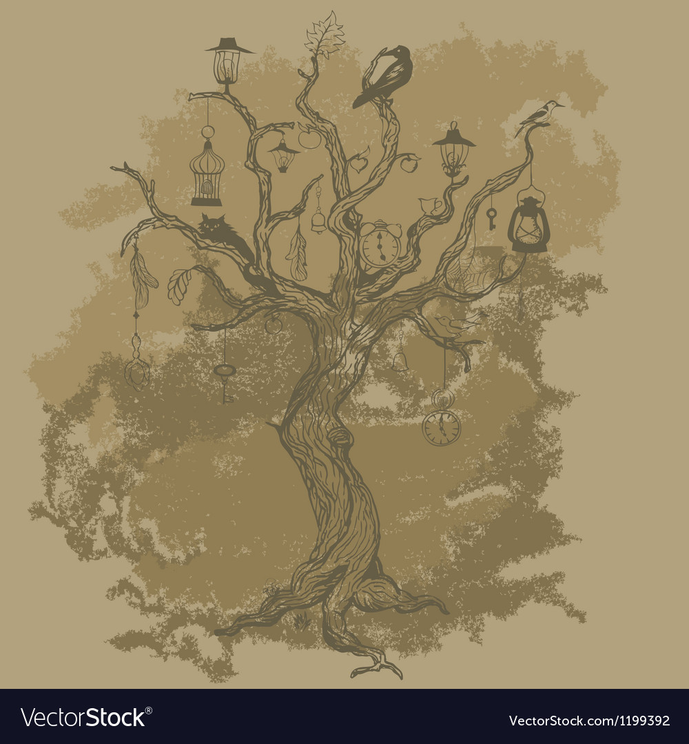 Grungy paper background with tree vector | Price: 1 Credit (USD $1)