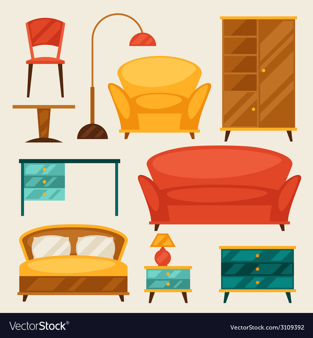Interior icon set with furniture in retro style vector | Price: 1 Credit (USD $1)