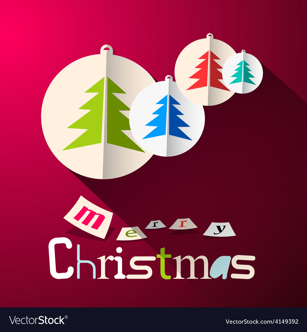 Merry christmas background with paper cut trees vector
