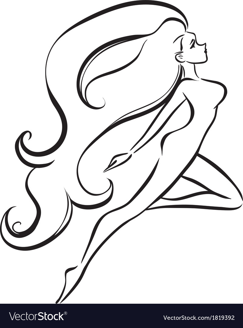 Slender girl with long thick hair vector | Price: 1 Credit (USD $1)