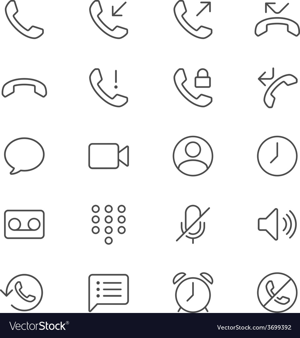 Telephone thin icons vector | Price: 1 Credit (USD $1)