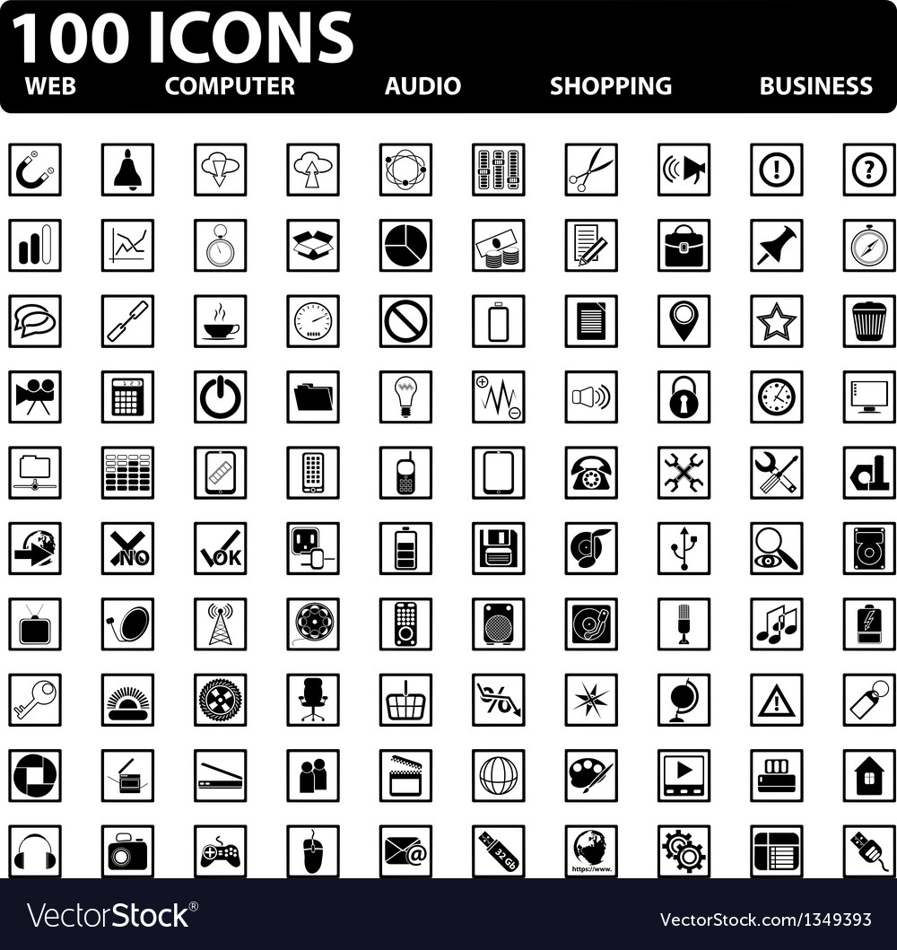 100 web icons set vector | Price: 1 Credit (USD $1)