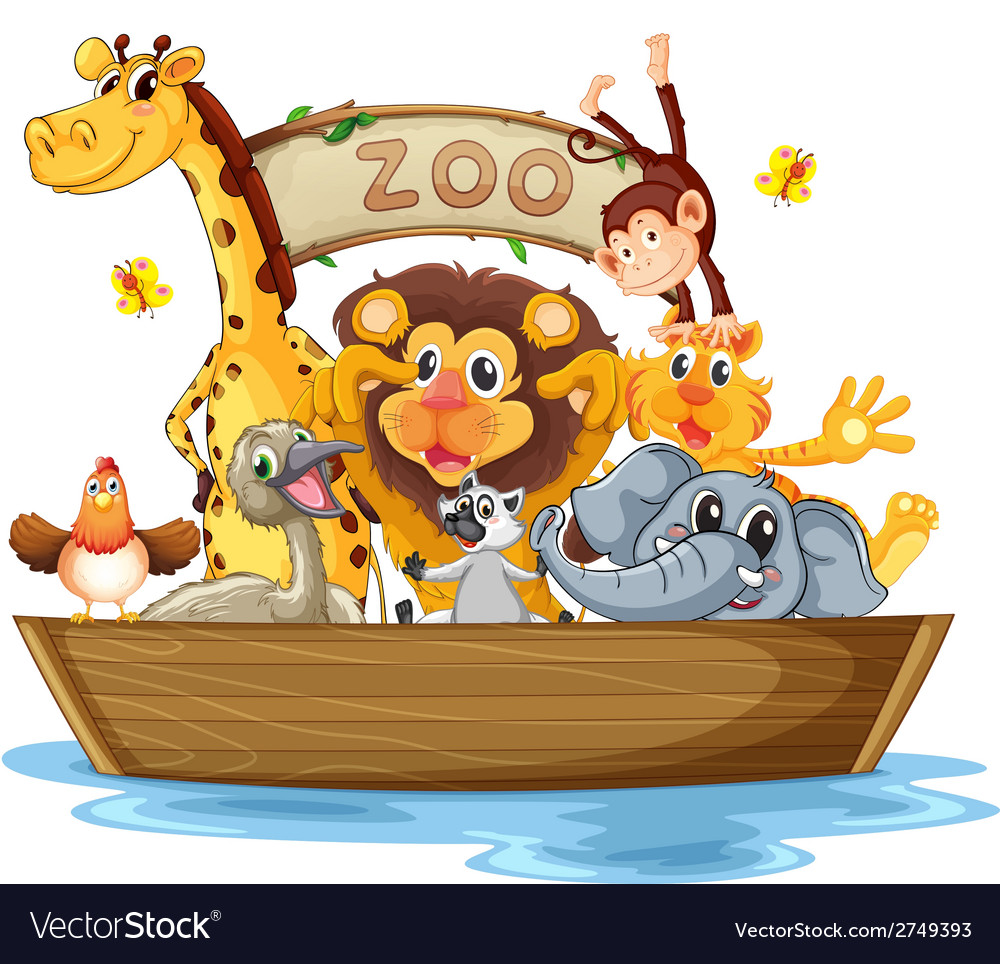 A boat full of animals vector | Price: 1 Credit (USD $1)