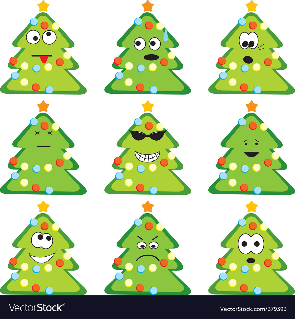Cartoon christmas trees vector | Price: 1 Credit (USD $1)