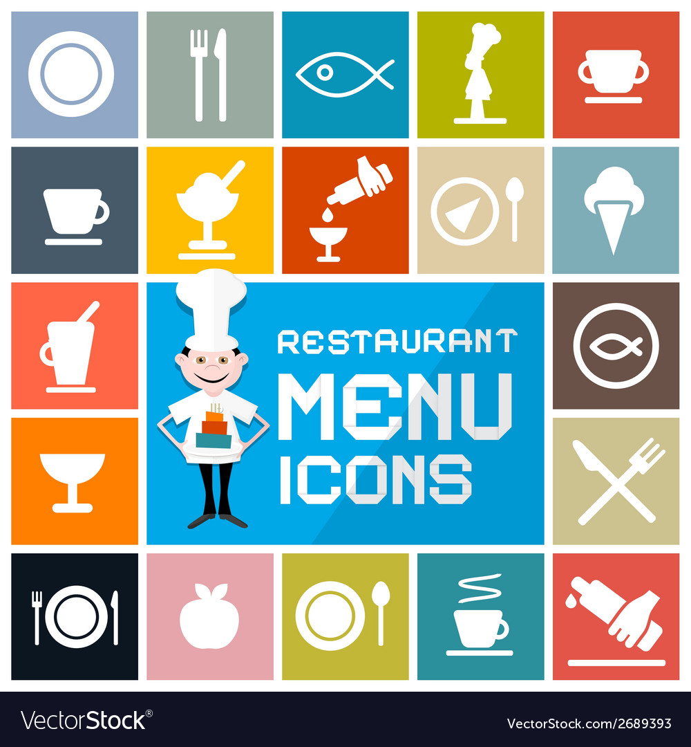 Colorful flat design restaurant menu icons set vector | Price: 1 Credit (USD $1)