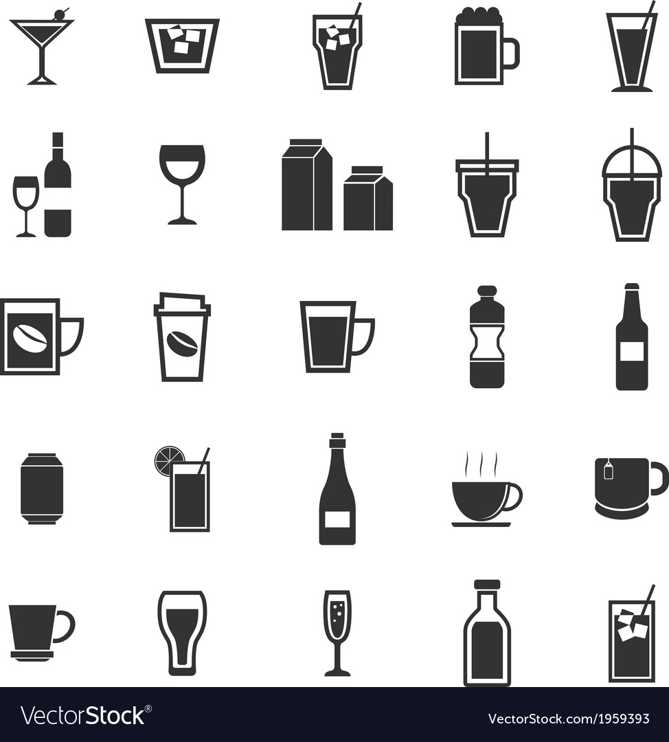 Drink icons on white background vector | Price: 1 Credit (USD $1)