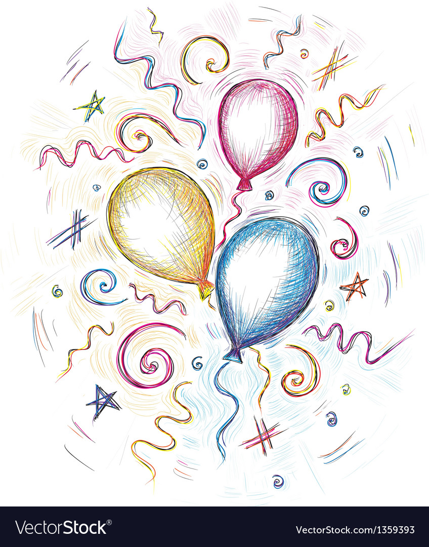 Festive balloons vector | Price: 1 Credit (USD $1)