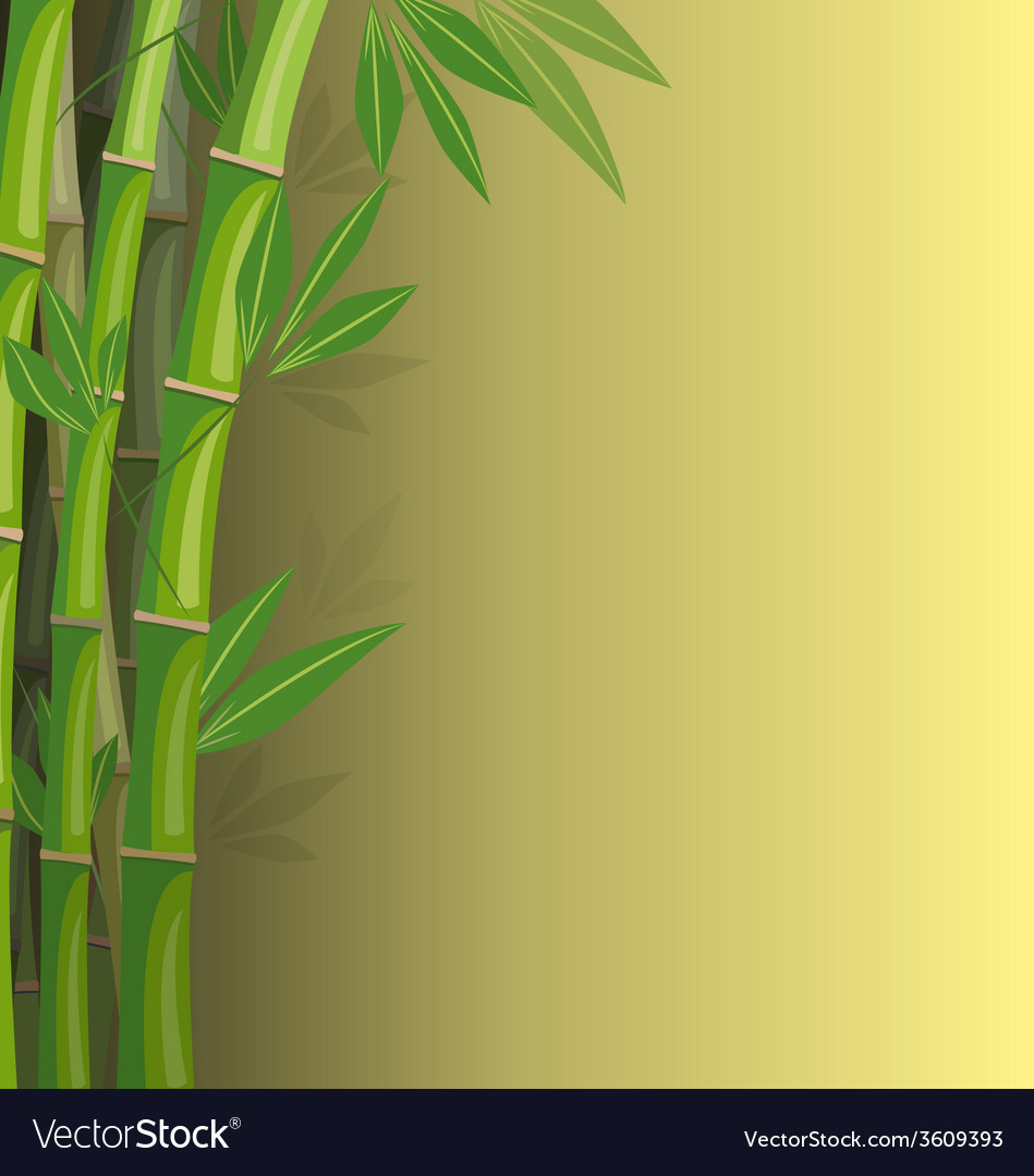 Green bamboo on yellow background vector   Price: 1 Credit (USD $1)