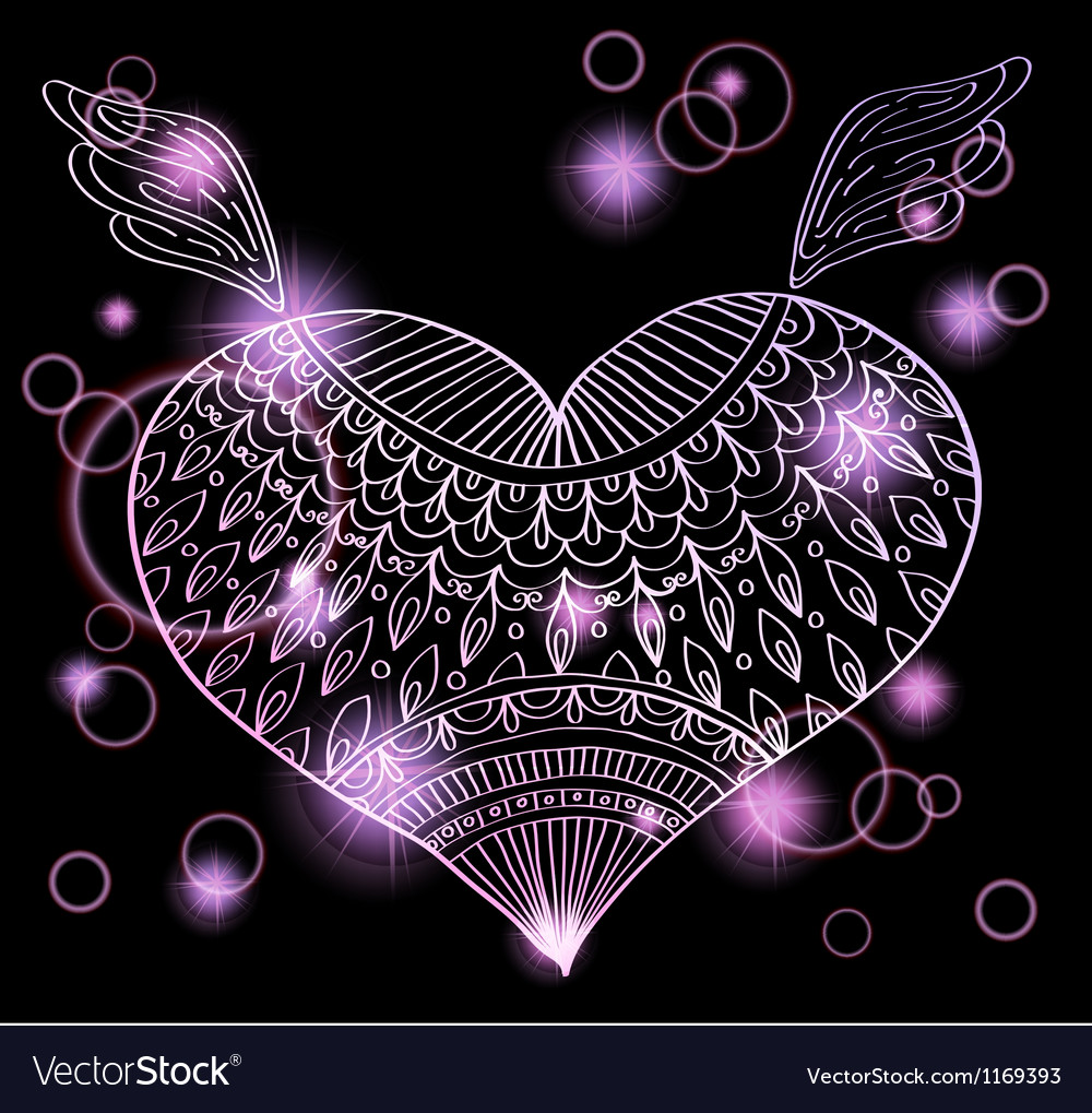 Heart with ornament vector | Price: 1 Credit (USD $1)