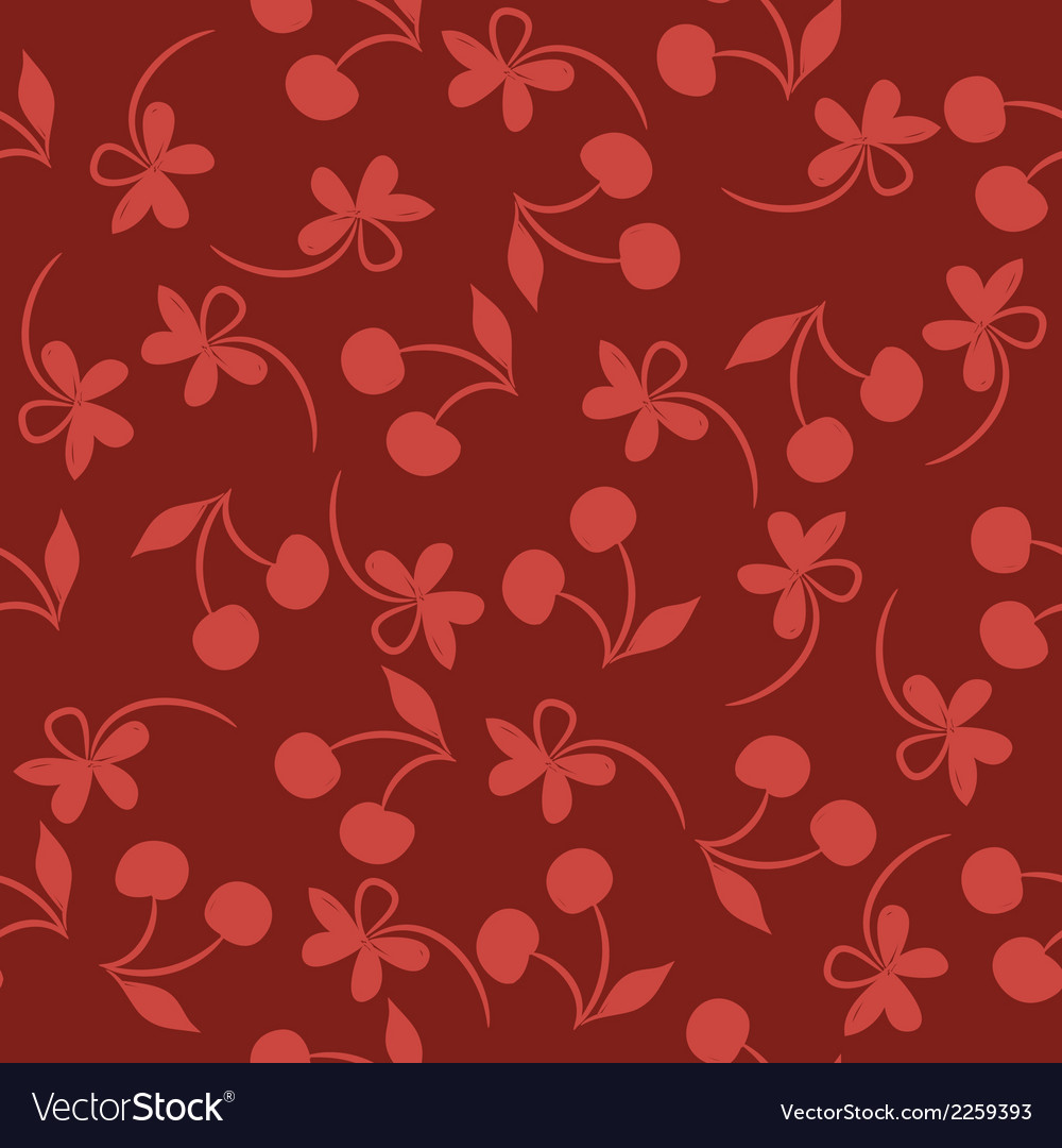 Seamless pattern with silhouettes cherries and vector | Price: 1 Credit (USD $1)