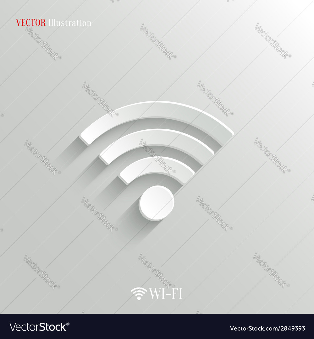 Wi-fi icon - white app button vector | Price: 1 Credit (USD $1)