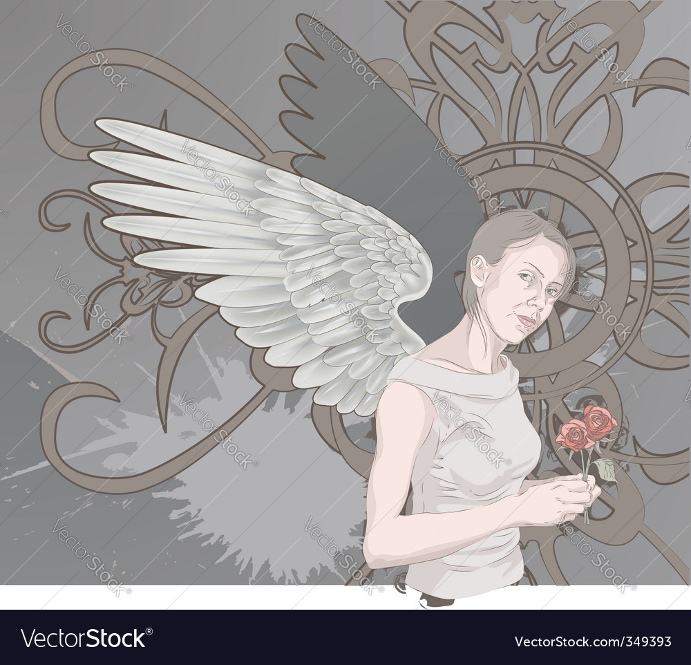 Winged woman vector | Price: 3 Credit (USD $3)