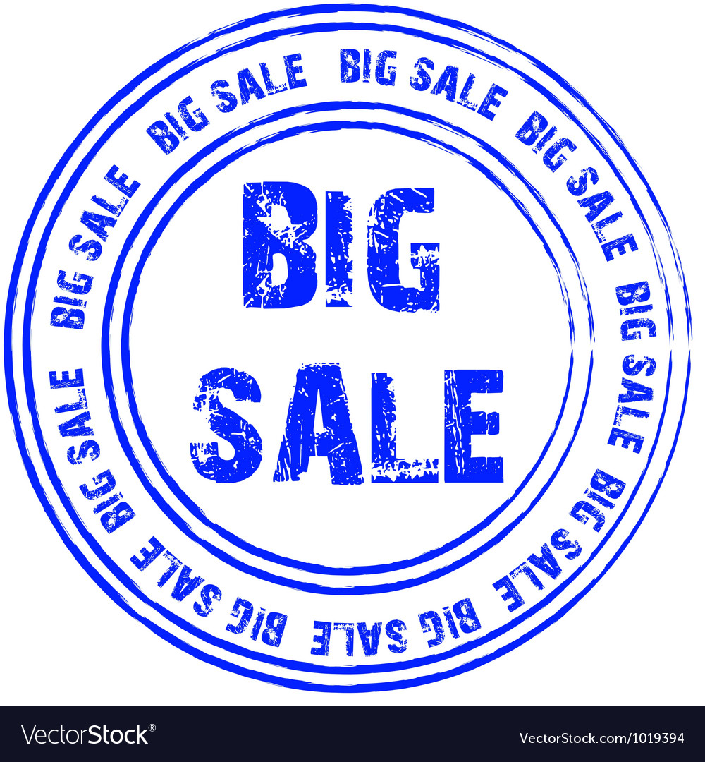 Blue stamp for big sale vector | Price: 1 Credit (USD $1)