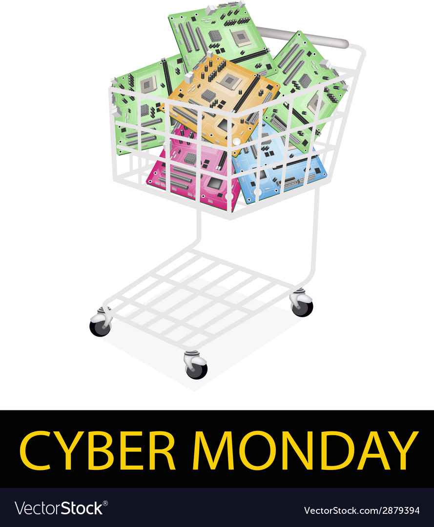Computer motherboard in cyber monday shopping cart vector | Price: 1 Credit (USD $1)