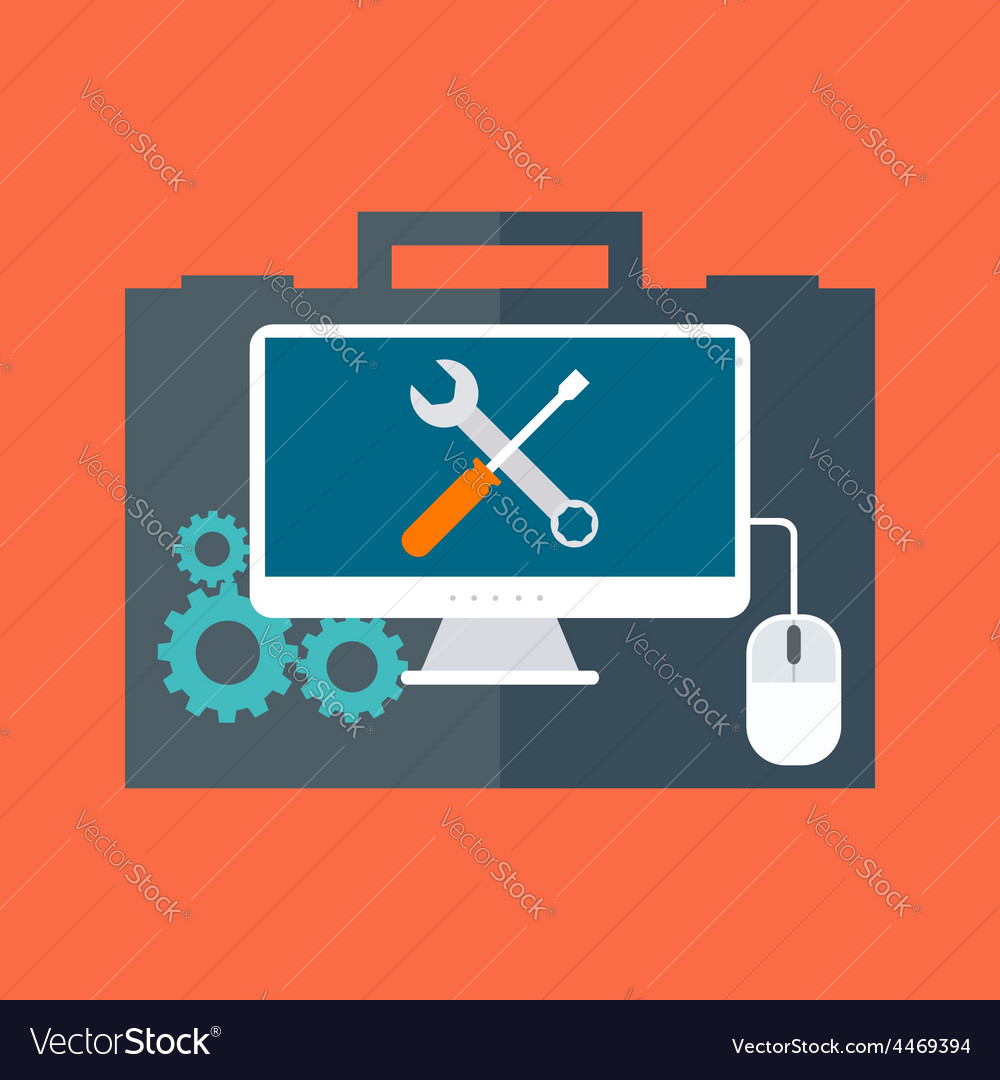 Computer service concept flat design isolated on vector | Price: 1 Credit (USD $1)