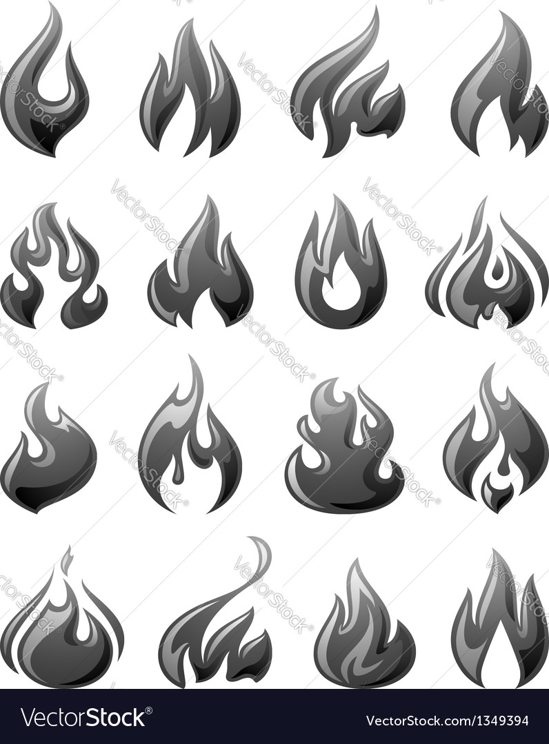 Fire flames set 3d gray icons vector | Price: 1 Credit (USD $1)