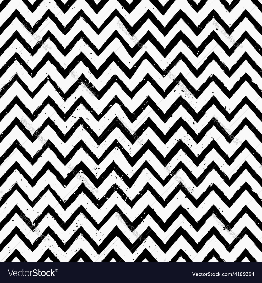 Hand drawn black and white chevron repeat pattern vector | Price: 1 Credit (USD $1)