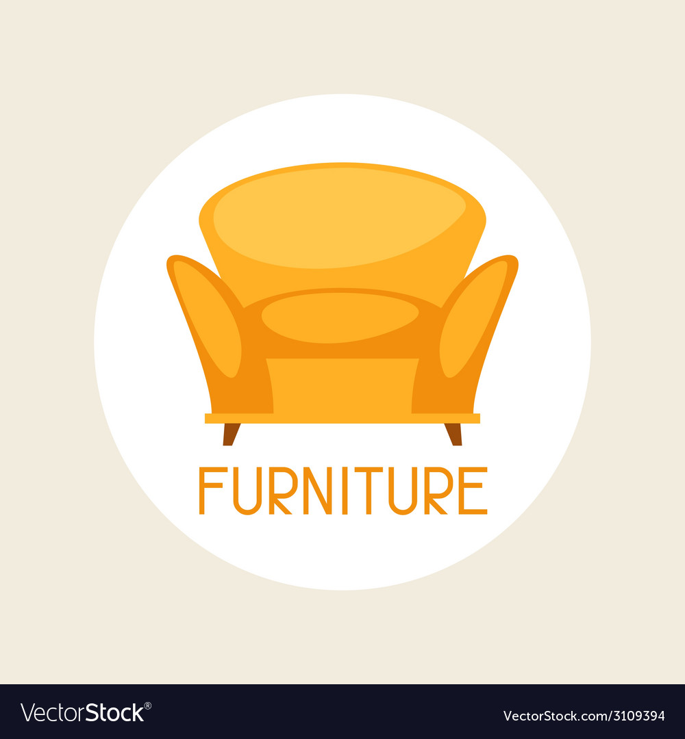 Interior with furniture in retro style vector | Price: 1 Credit (USD $1)
