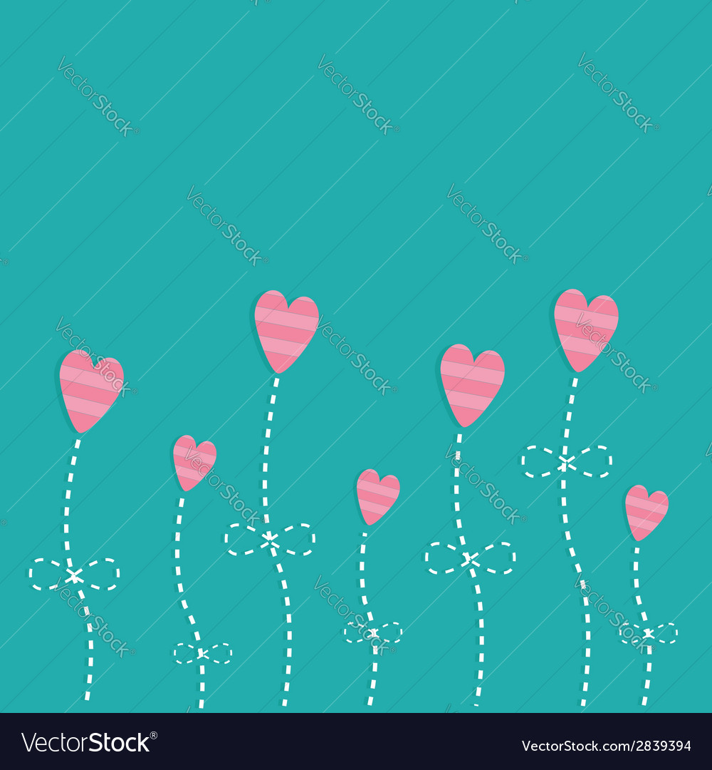 Pink strip heart flowers love card flat deign vector | Price: 1 Credit (USD $1)