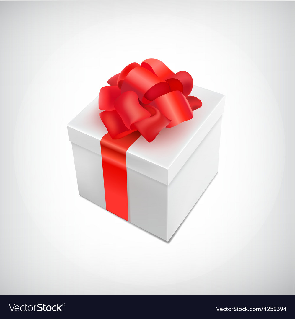 Realistic 3d present box with bow tie vector | Price: 1 Credit (USD $1)