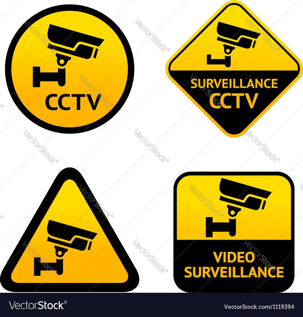 Video surveillance set labels vector | Price: 1 Credit (USD $1)