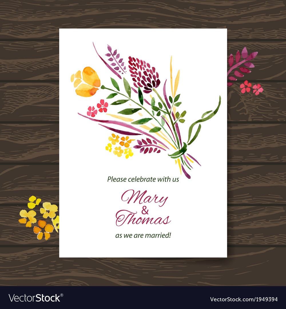 Wedding invitation card with watercolor floral vector | Price: 1 Credit (USD $1)