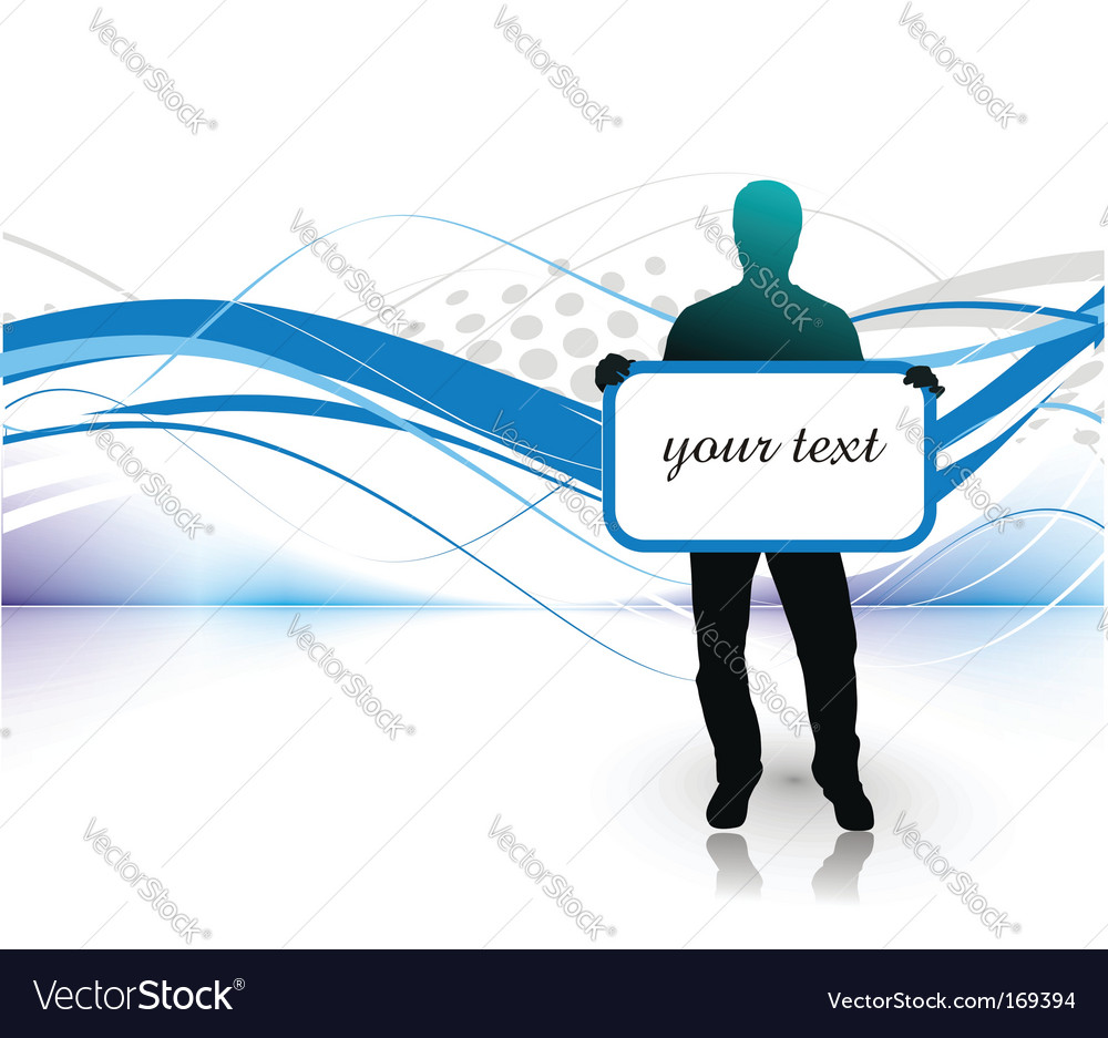Young man with blank board vector | Price: 1 Credit (USD $1)
