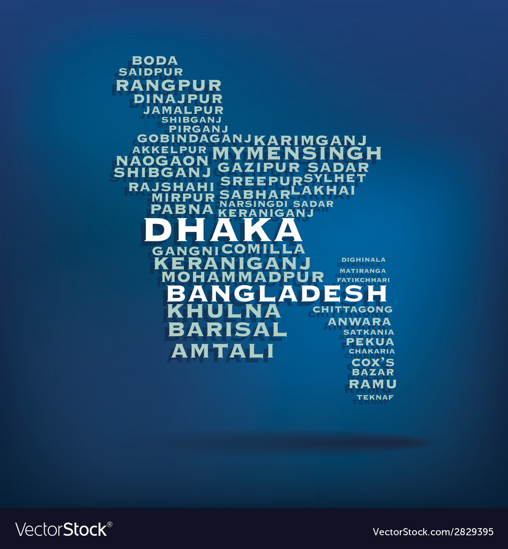 Bangladesh map made with name of cities vector | Price: 1 Credit (USD $1)
