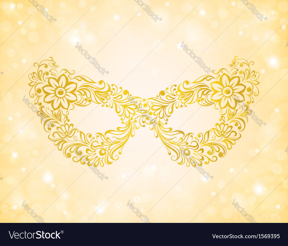 Beautiful silhouette golden mask on the background vector | Price: 1 Credit (USD $1)