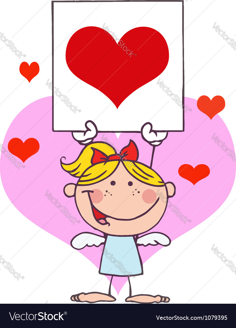 Cupid girl with banner heart vector | Price: 1 Credit (USD $1)