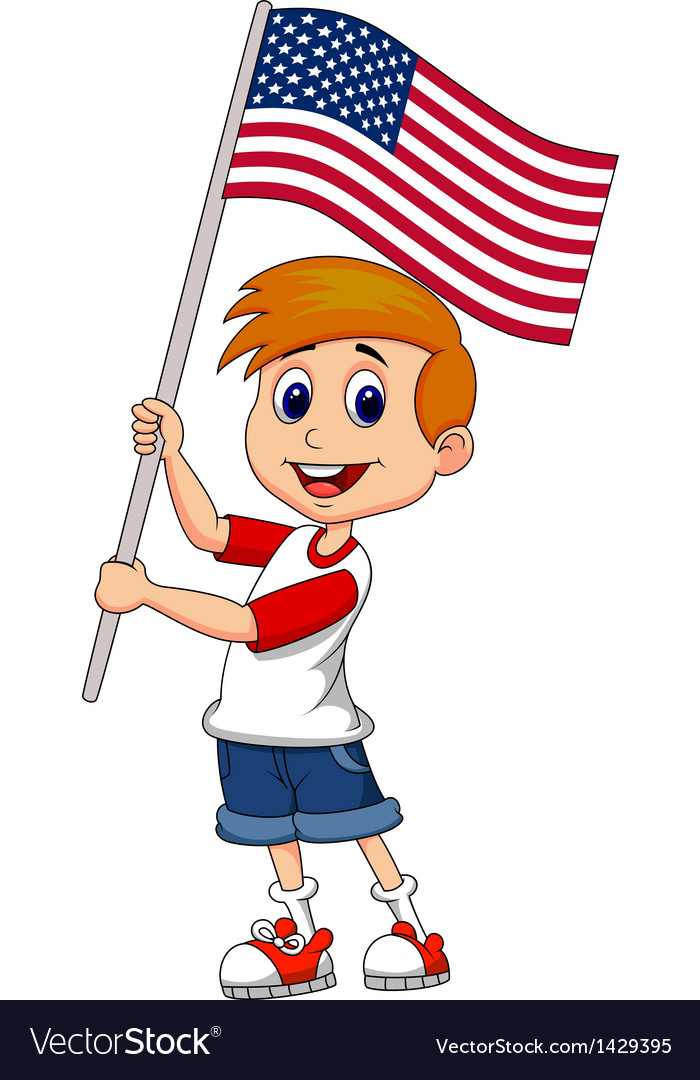 Cute boy cartoon waving with american flag vector | Price: 1 Credit (USD $1)