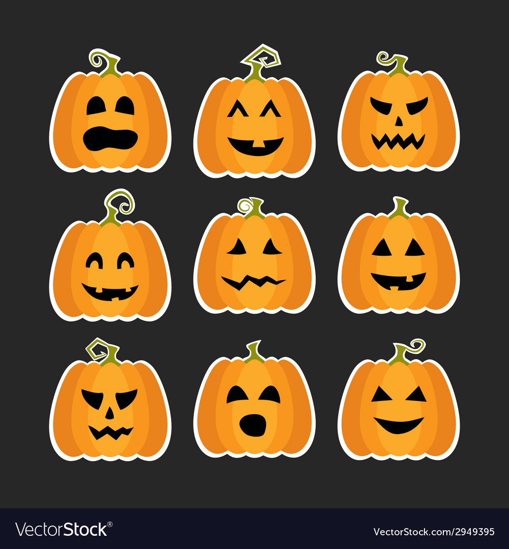 Halloween pumpkins flat stikers set vector | Price: 1 Credit (USD $1)