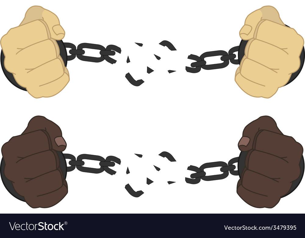 Male hands breaking steel handcuffs vector | Price: 1 Credit (USD $1)