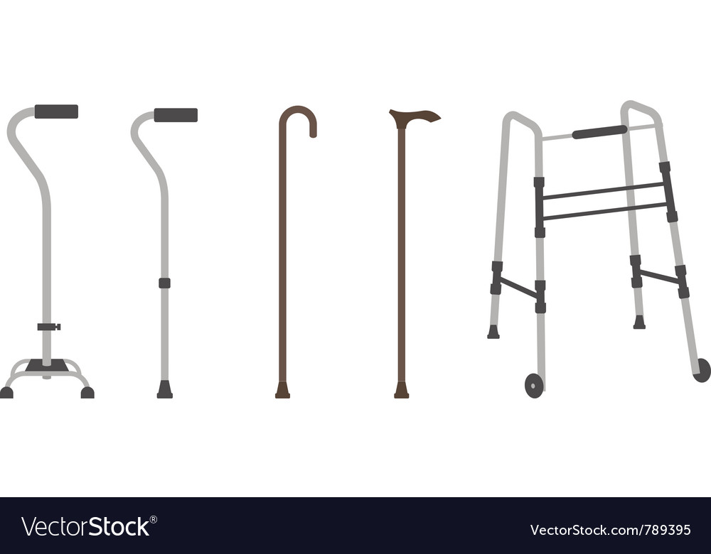 Set of senior walking sticks vector | Price: 1 Credit (USD $1)