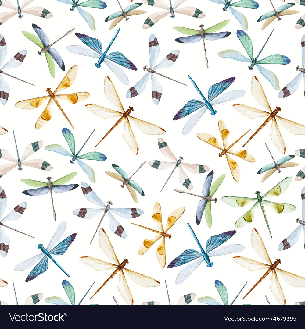 Watercolor dragonflies pattern vector