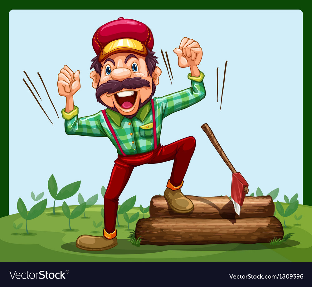 A happy lumberjack stepping on a log with axe vector   Price: 1 Credit (USD $1)