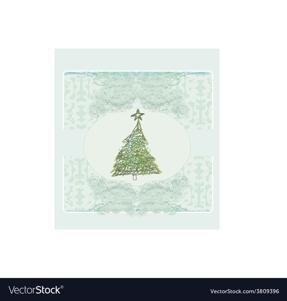 Abstract retro christmas tree card vector | Price: 1 Credit (USD $1)