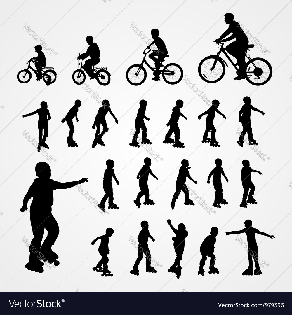 Big set silhouette of roller skating and bicyclist vector | Price: 1 Credit (USD $1)