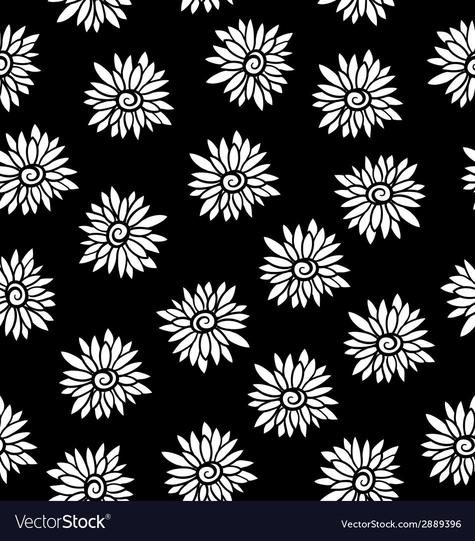 Black and white flower pattern vector | Price: 1 Credit (USD $1)