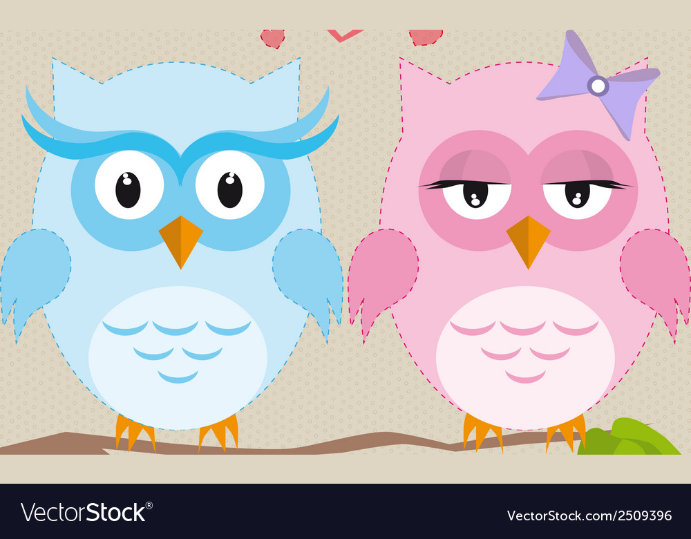 Couple of owls in love vector | Price: 1 Credit (USD $1)