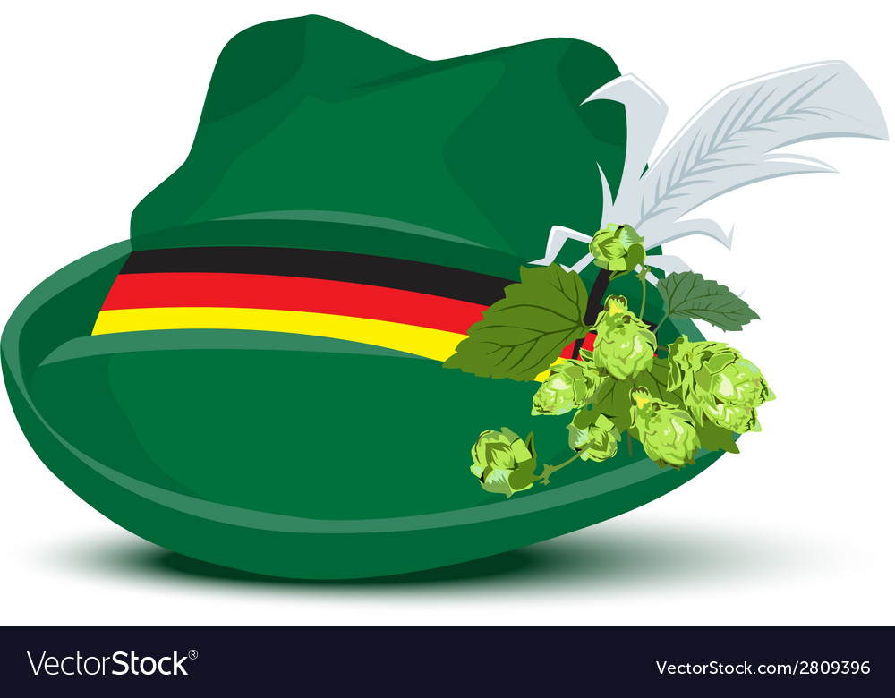 Green hat with a feather and hops vector | Price: 1 Credit (USD $1)